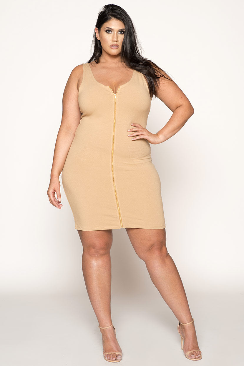 Zipper BodyCon Sleeveless Mini Dress