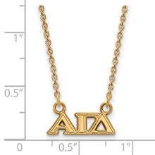 Alpha Gamma Delta Sorority Sterling Silver Gold Plated Extra Small Pendant Necklace