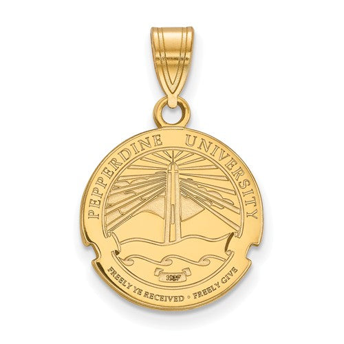 Pepperdine University Sterling Silver Gold Plated Medium Crest Pendant