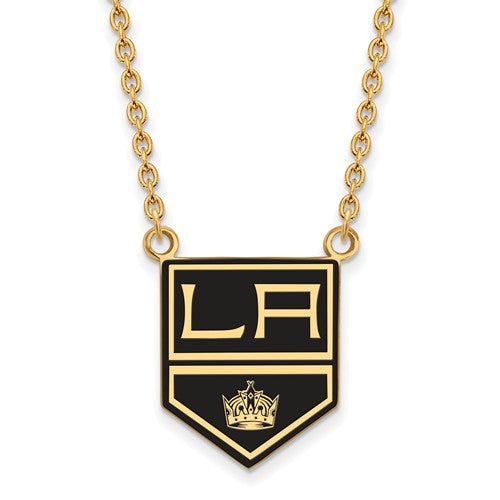 Los Angeles Kings Sterling Silver Gold Plated Large Enameled Pendant Necklace