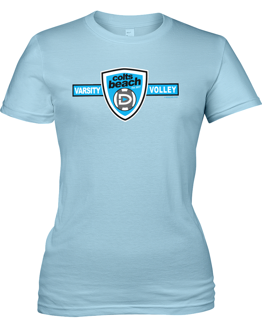 Carson Beach Volleyball Shield of Style Womens' Cut Tee