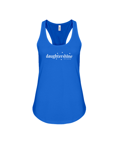 Daughtershine Brand Logo White Flowy Racerback Tank