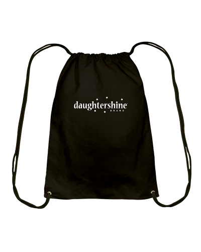 Daughtershine Brand Logo White Cotton Drawstring Backpack