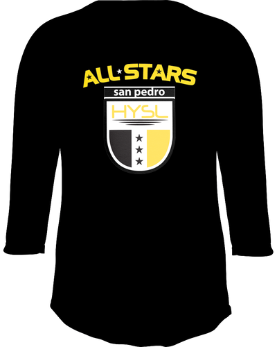 HYSL All-Stars by I KICK™ Black Tagless Raglan Baseball Tee