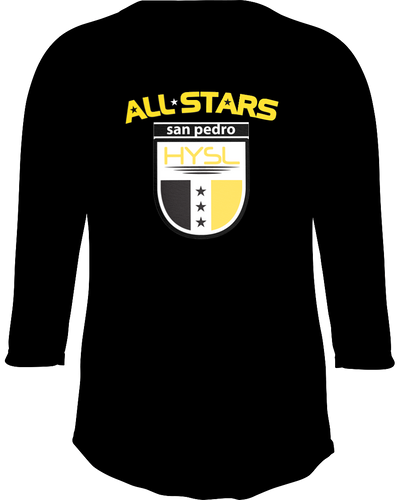 HYSL All-Stars by I KICK™ Black 3/4 Sleeve Baseball Tee