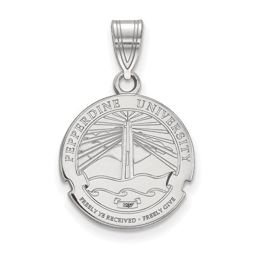 Pepperdine University Sterling Silver Medium Crest Pendant