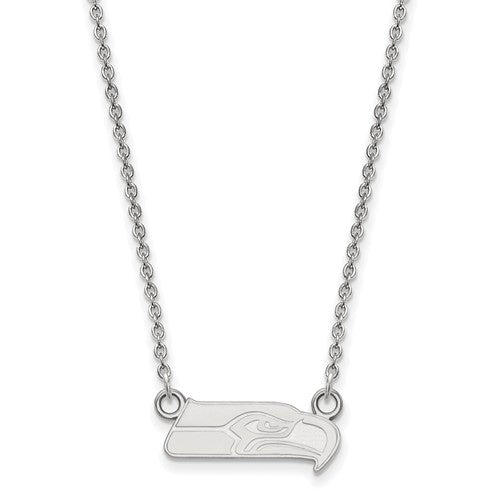 Seattle Seahawks 14k White Gold Small Pendant with Necklace