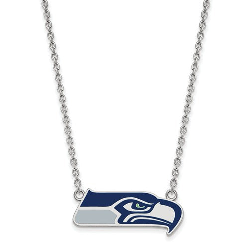 Seattle Seahawks Sterling Silver Large Pendant with Necklace
