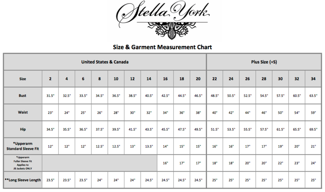 Stella York Size Chart – 7th Avenue Fashions