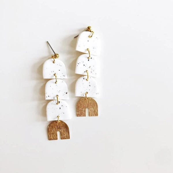 Whiskey and Wine Jewelry:  Speckled White Cricket Earrings