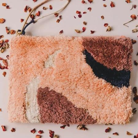 Abstract Flame Tufted Pouch