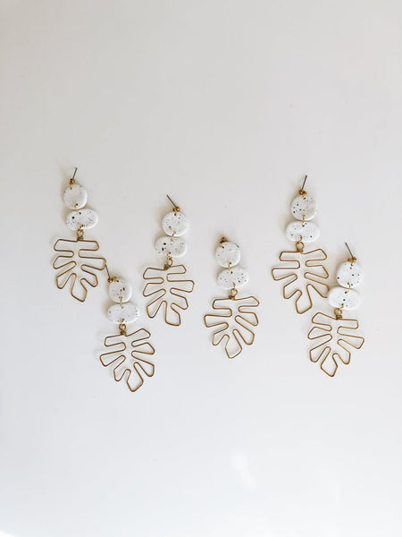 Whiskey and Wine Jewelry: Speckled White Monstera Earrings