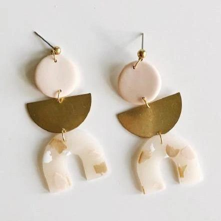 Whiskey and Wine Jewelry:  Ingrid Earrings in Nude Terrazo