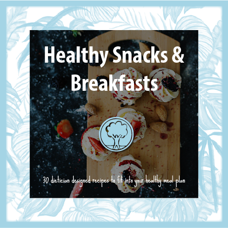 healthy snack recipe book cover. 30 dietician designed recipes to fit into your healthy eating plan book cover