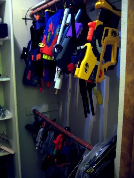 Storage Option: S-hooks hang Nerf Blasters in closet