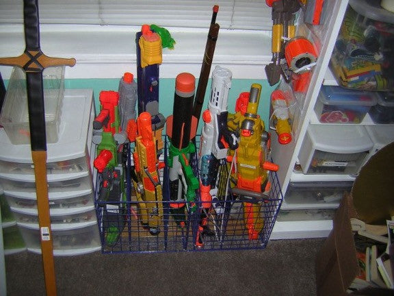 Storage Option: Nerf Blasters in a Wire Basket