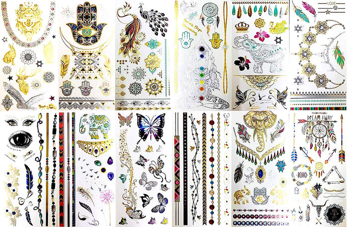 BohoTats Tattoos - Set 1 of 12 Sheets - Over 100+ Intricate Designs - Stunning Flash Metallic Boho Tattoos - Non Toxic - Quality Guarantee - Temporary Metallic Tattoos