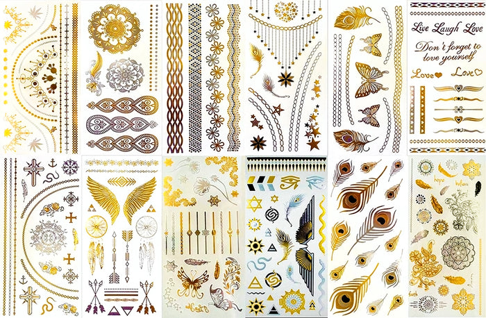 BohoTats Tattoos - Set 2 of 12 Sheets - Over 100+ Intricate Designs - Stunning Flash Metallic Boho Tattoos - Non Toxic - Quality Guarantee - Temporary Metallic Tattoos