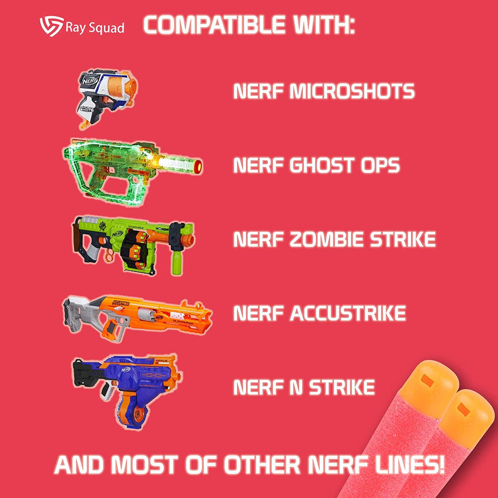 Ray Squad Red 120 Nerf Mega Darts, Nerf Compatible Foam Toy Darts, Premium Refill Bullets for N-Strike Guns, Universal Mega Pack, Firm and Safe Nerf Compatible Accessories