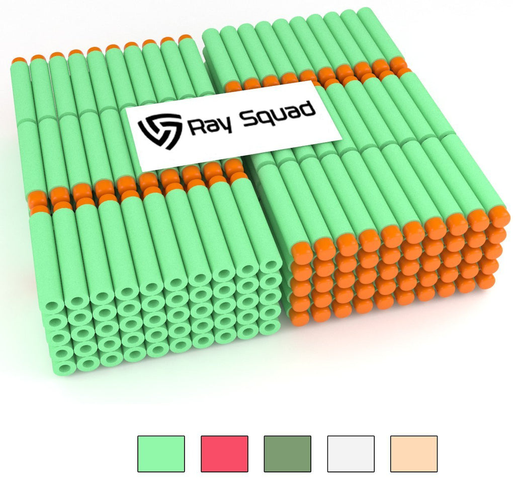 Green 300-Pieces Set, Ultimate Nerf Foam Toy Darts By Ray Squad, Premium Refill Bullets For N-Strike Guns, Universal Mega Pack, Firm and Safe Nerf Accessories Amazing Precision Control