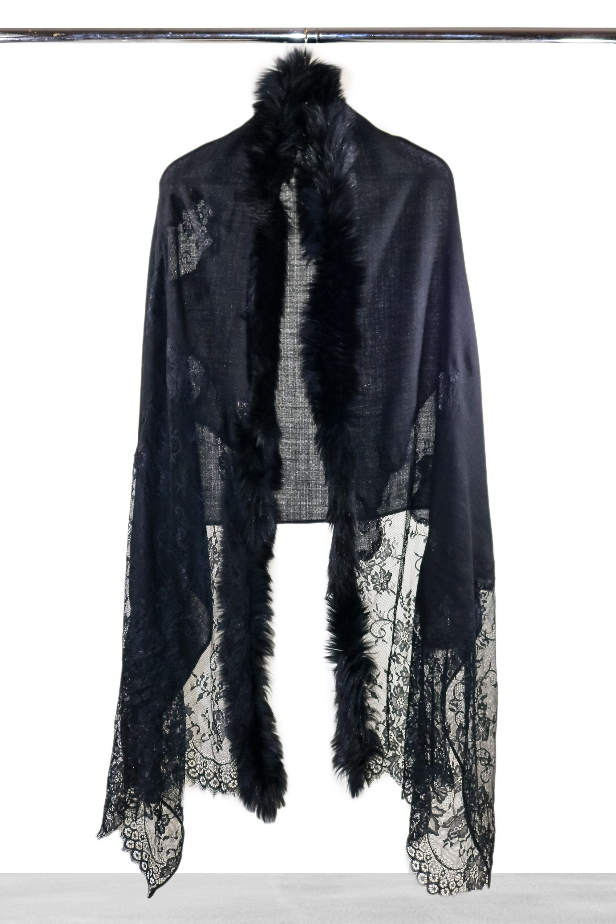 Black Lace and Fur Shawl