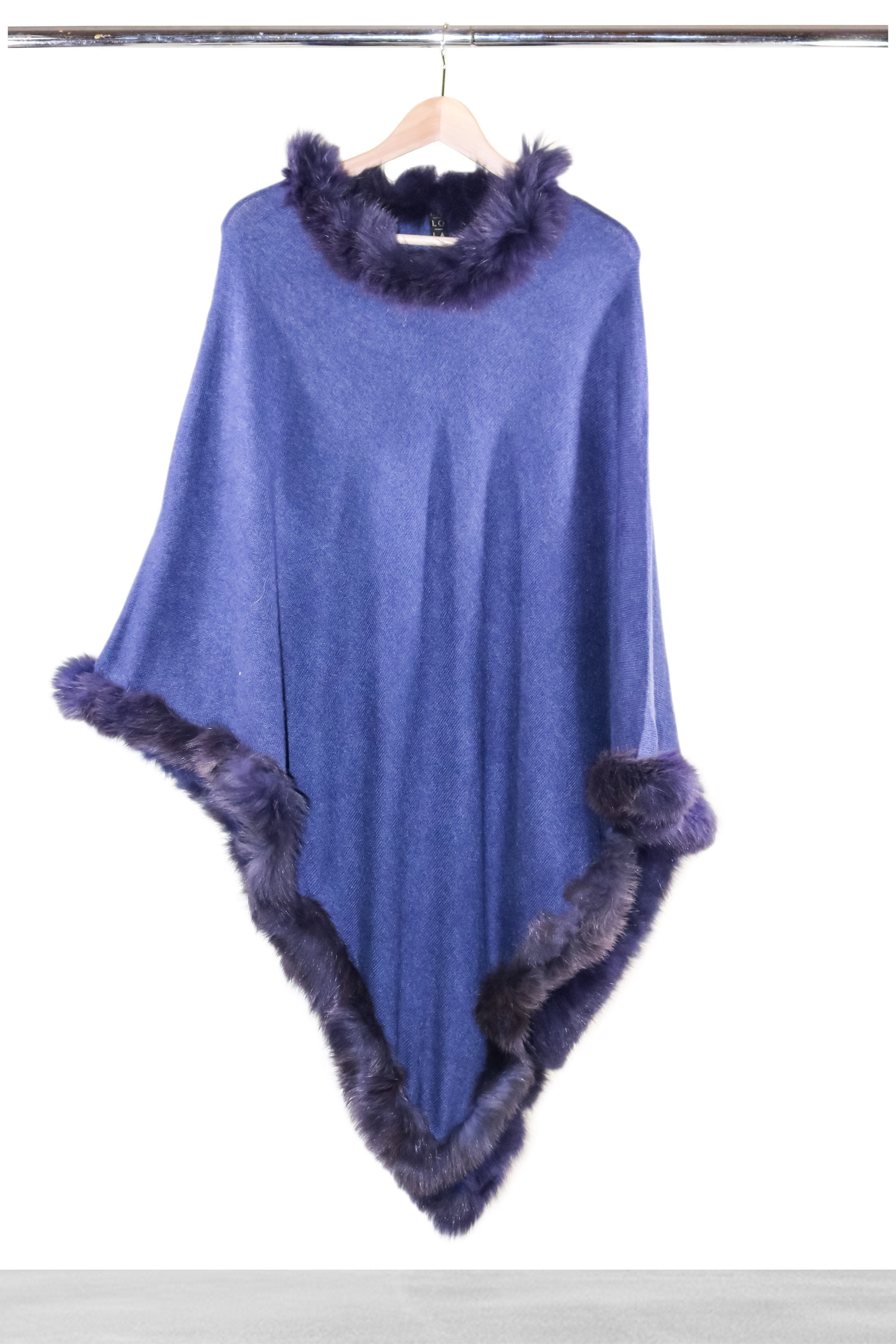 Bright Blue Fur Poncho