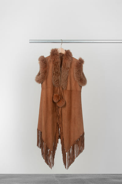 Burnt Orange Suede Vest - La Lo La Clothing