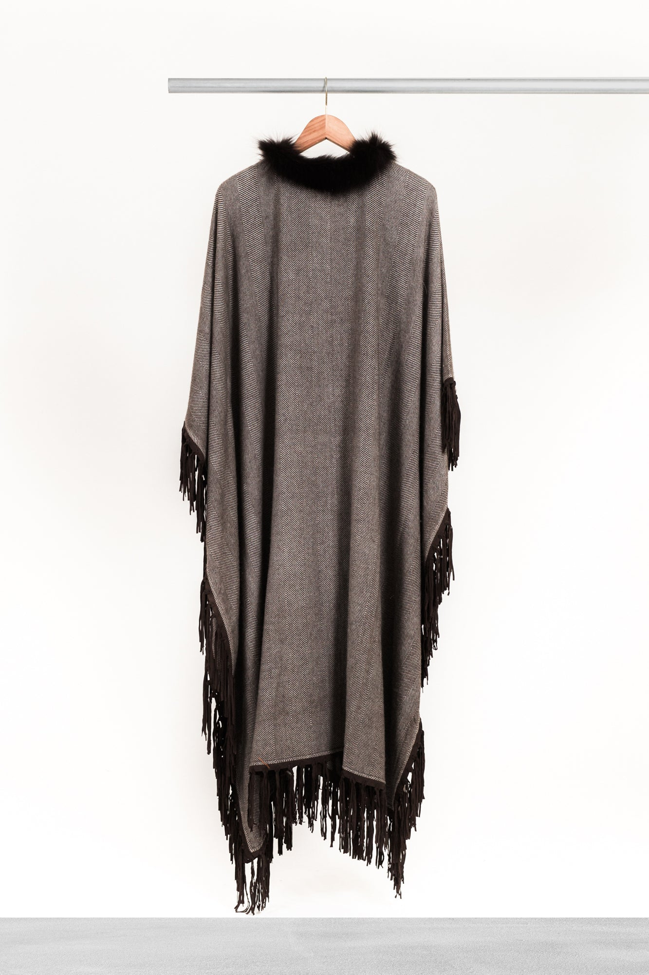 Cafe Fringed Cashmere Kaftan - La Lo La Clothing