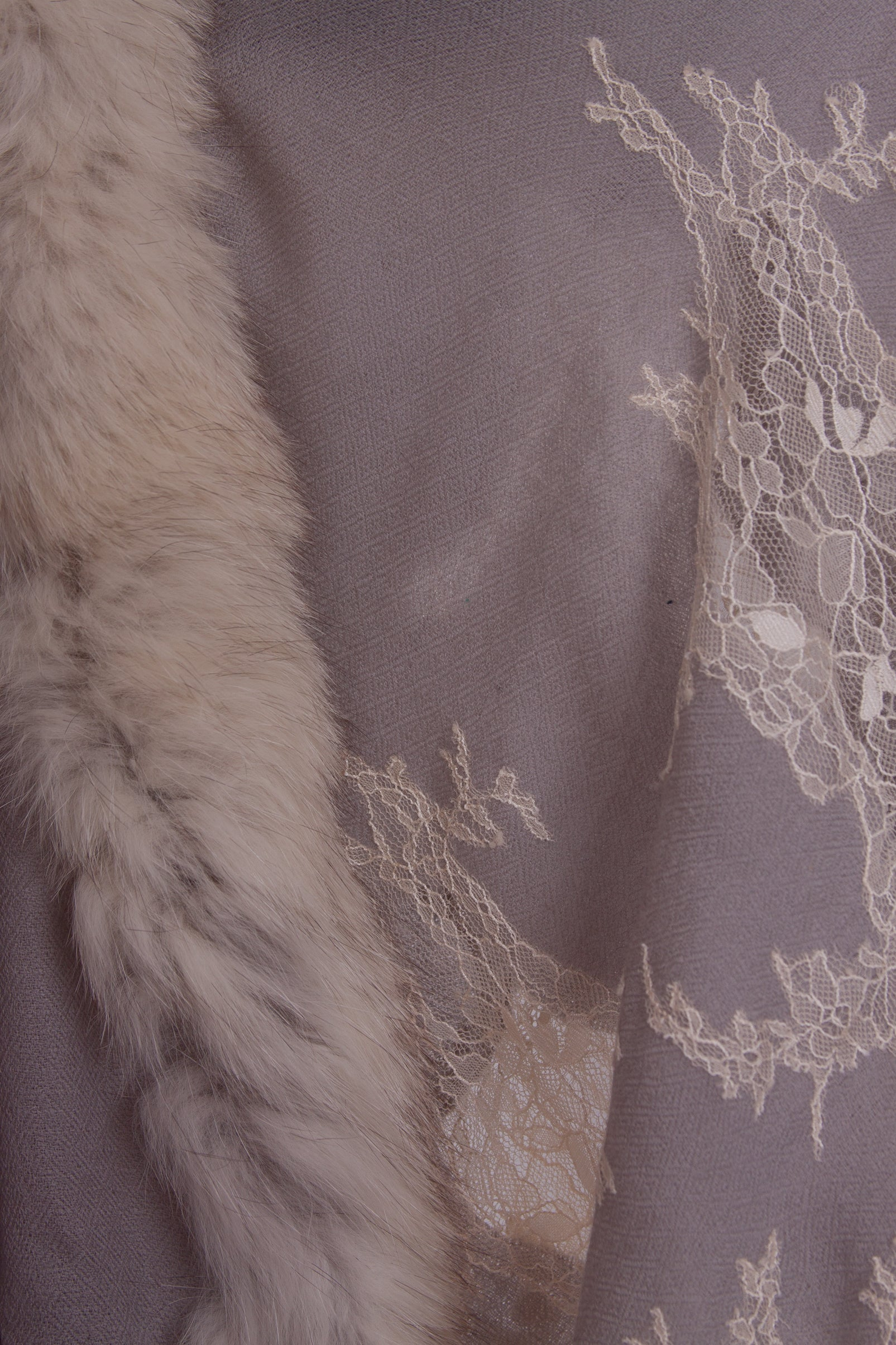 Harbor Grey Lace and Fur Shawl - La Lo La Clothing