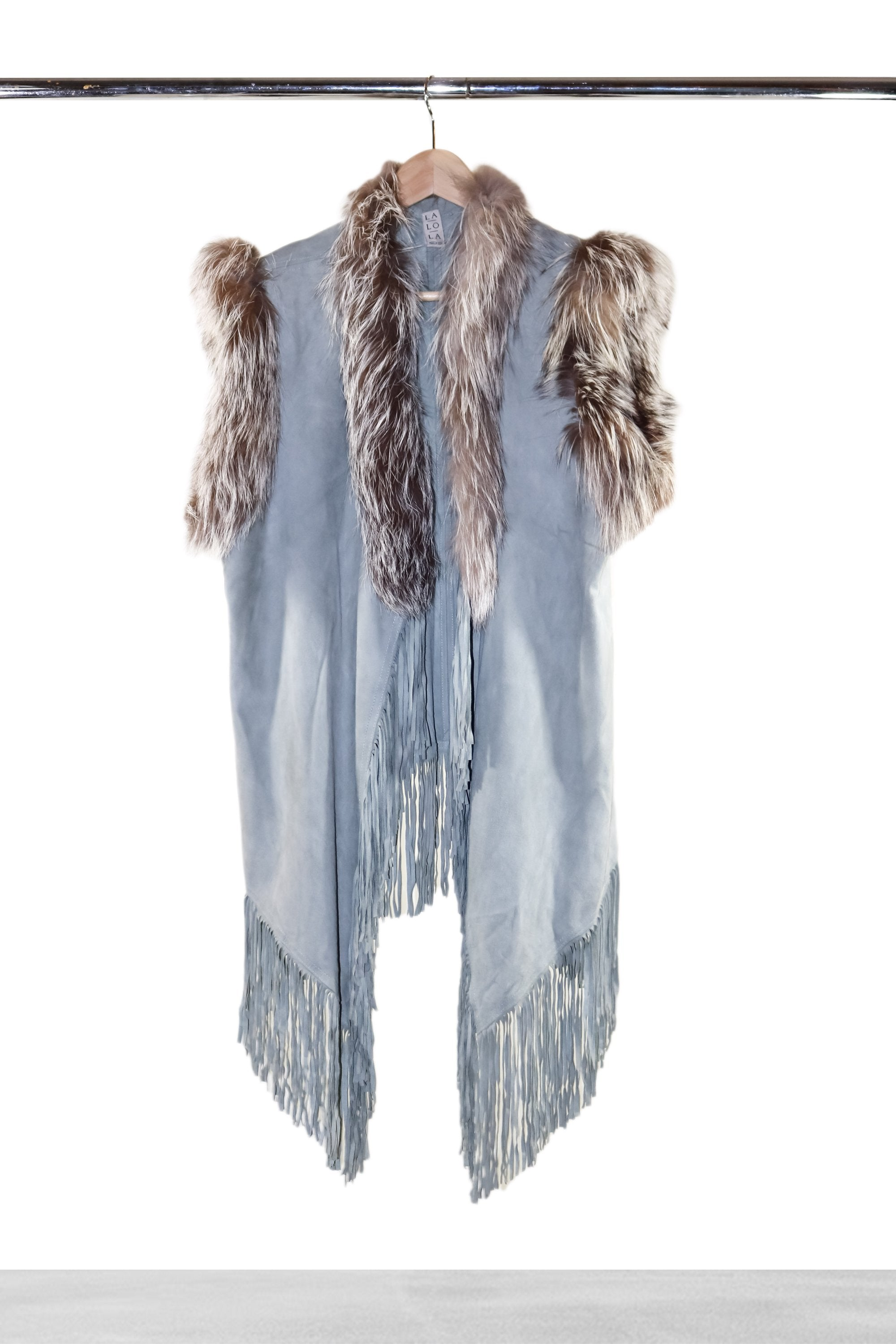 Ice Blue Suede Vest