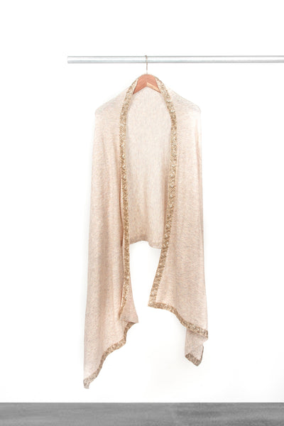 Knitted Blush Shawl with trim