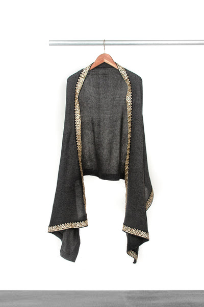 Knitted Dark Grey Shawl with trim