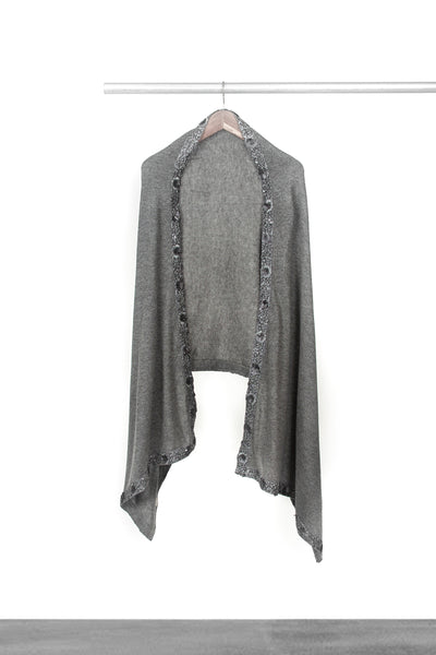 Knitted Grey Shawl with trim
