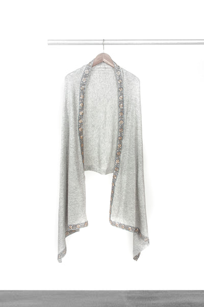 Knitted Light Grey Shawl with trim