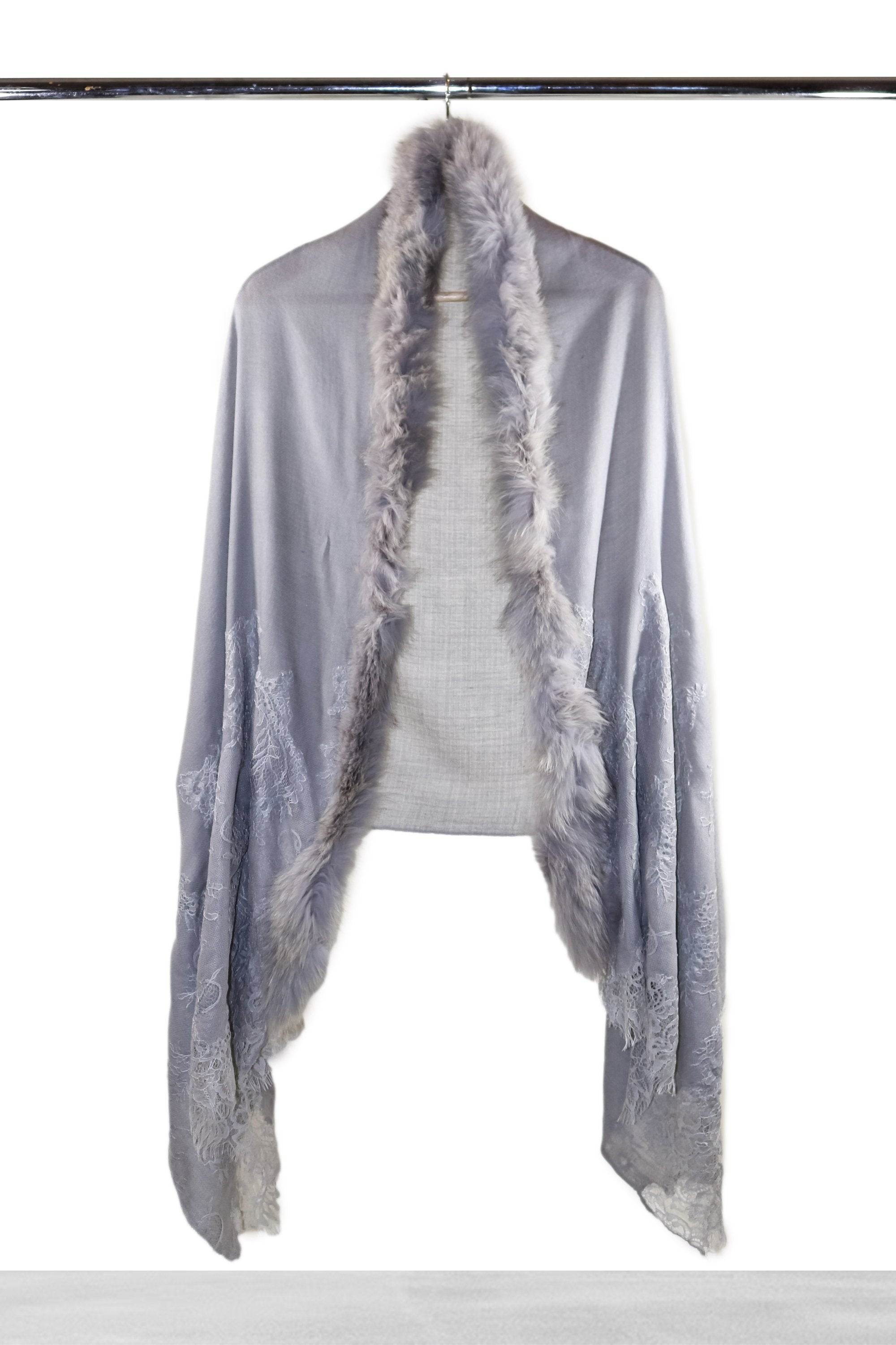 Light Grey Lace and Fur Shawl