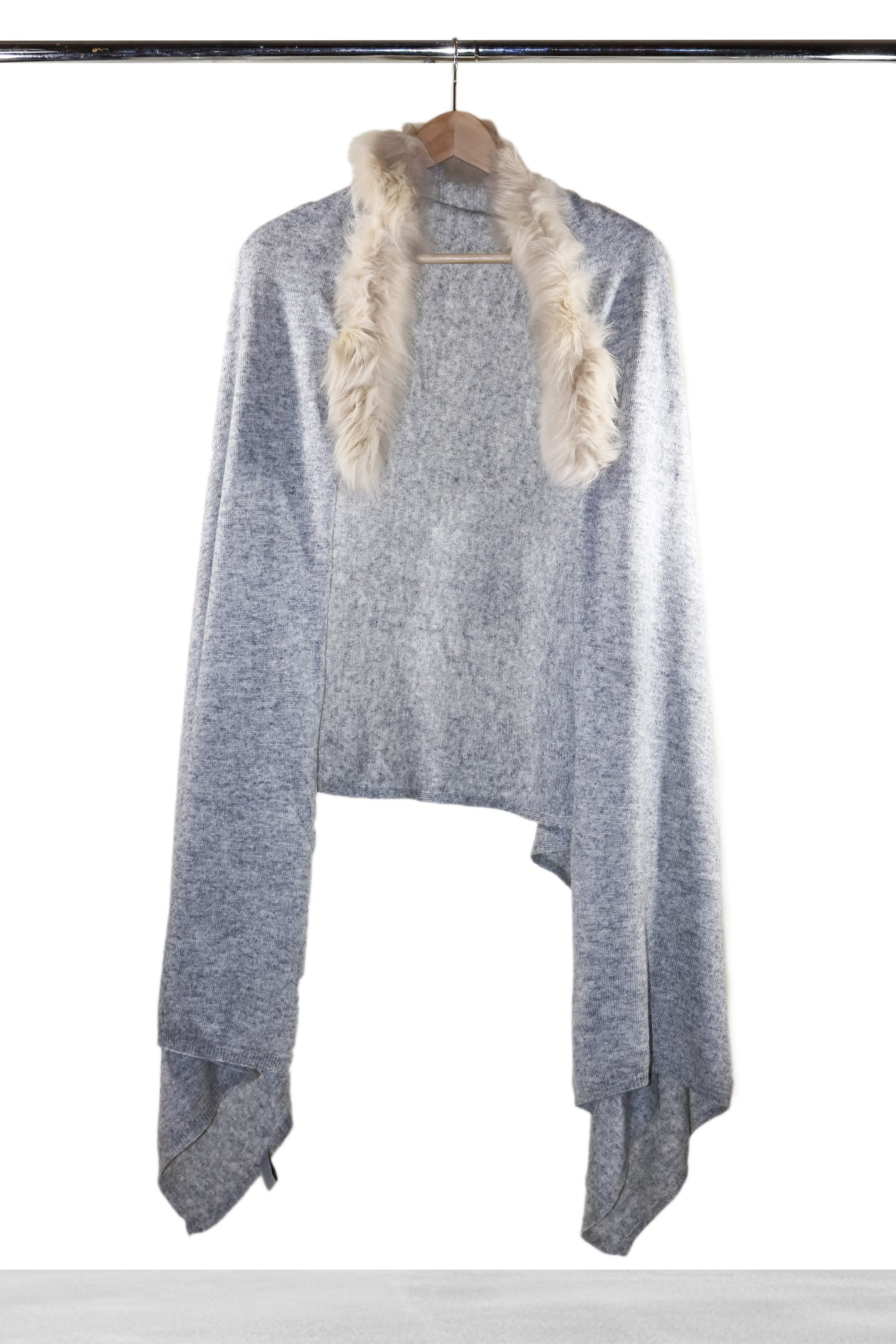 Light Grey Removable Collar Fur Shawl