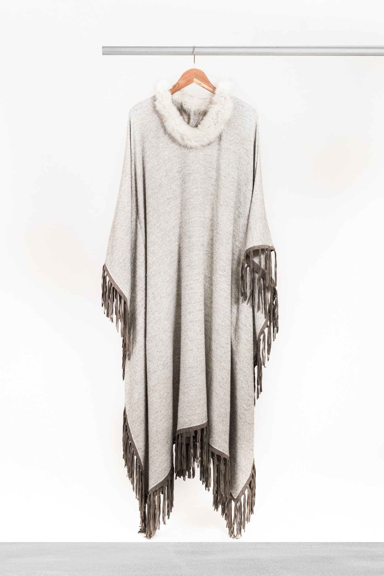 Light Nickel Fringed Cashmere Kaftan - La Lo La Clothing