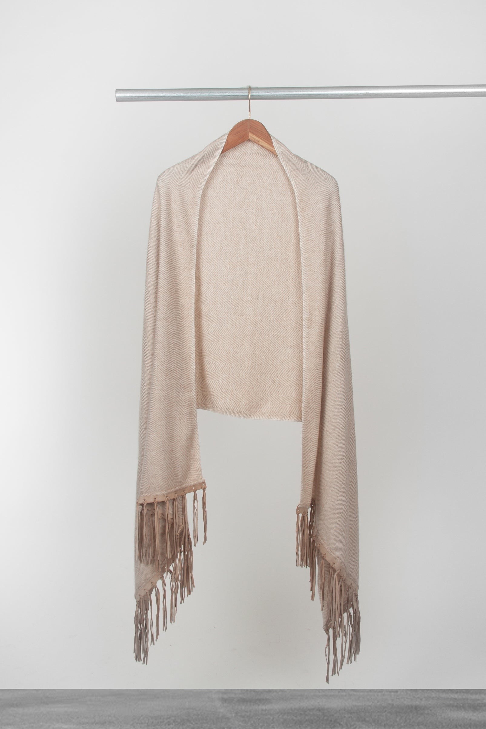 Light Tan Vertical Striped Shawl - La Lo La Clothing