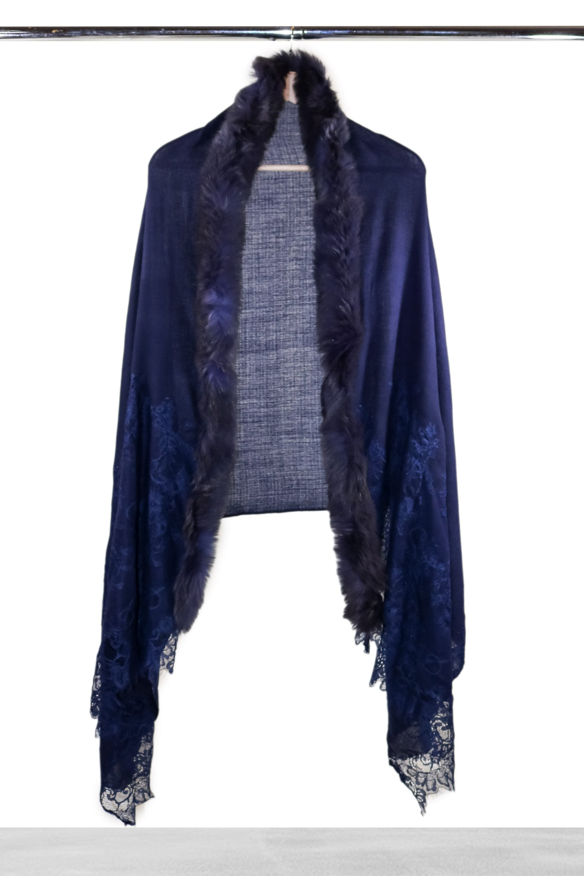Navy Lace and Fur Shawl