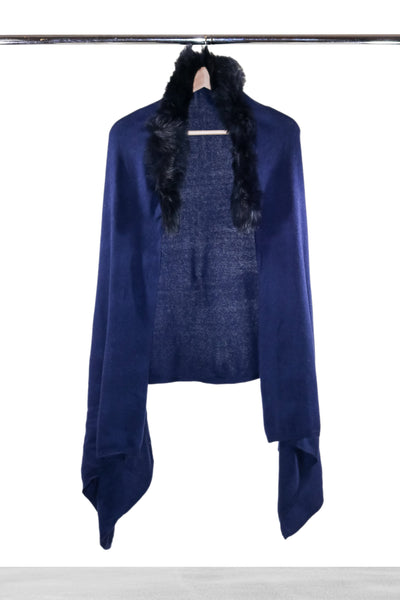 Navy Removable Collar Fur Shawl