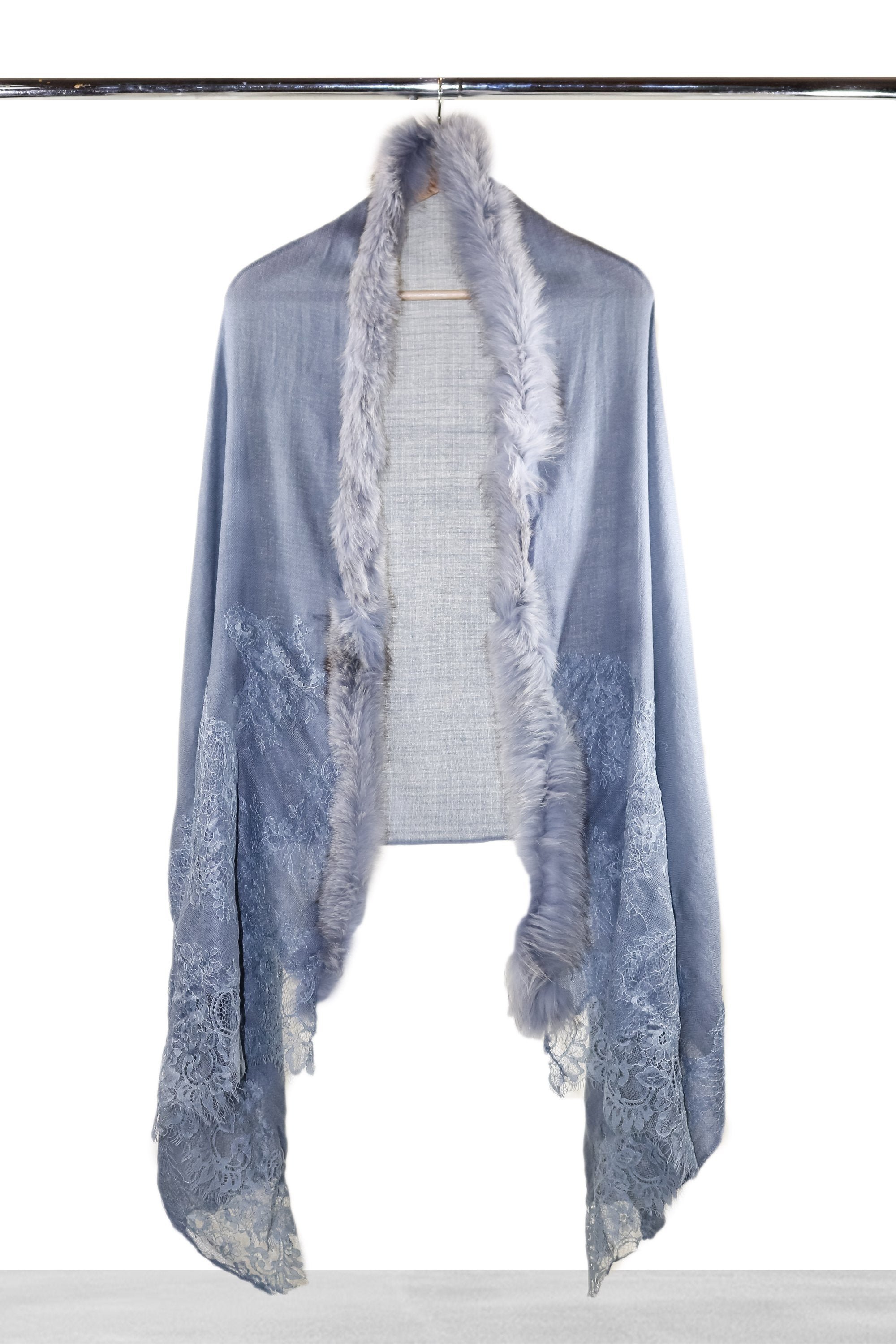 Sky Blue Lace and Fur Shawl