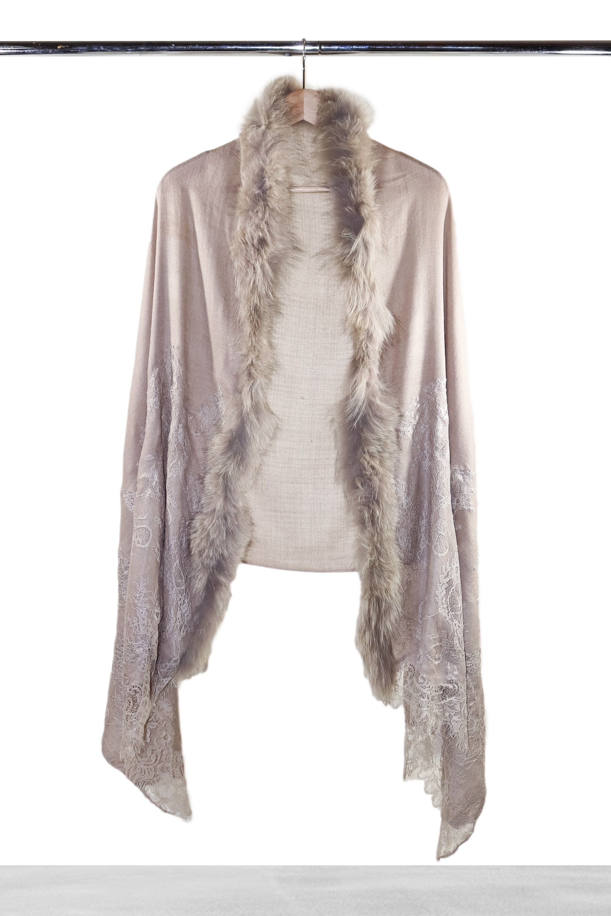 Taupe Lace and Fur Shawl