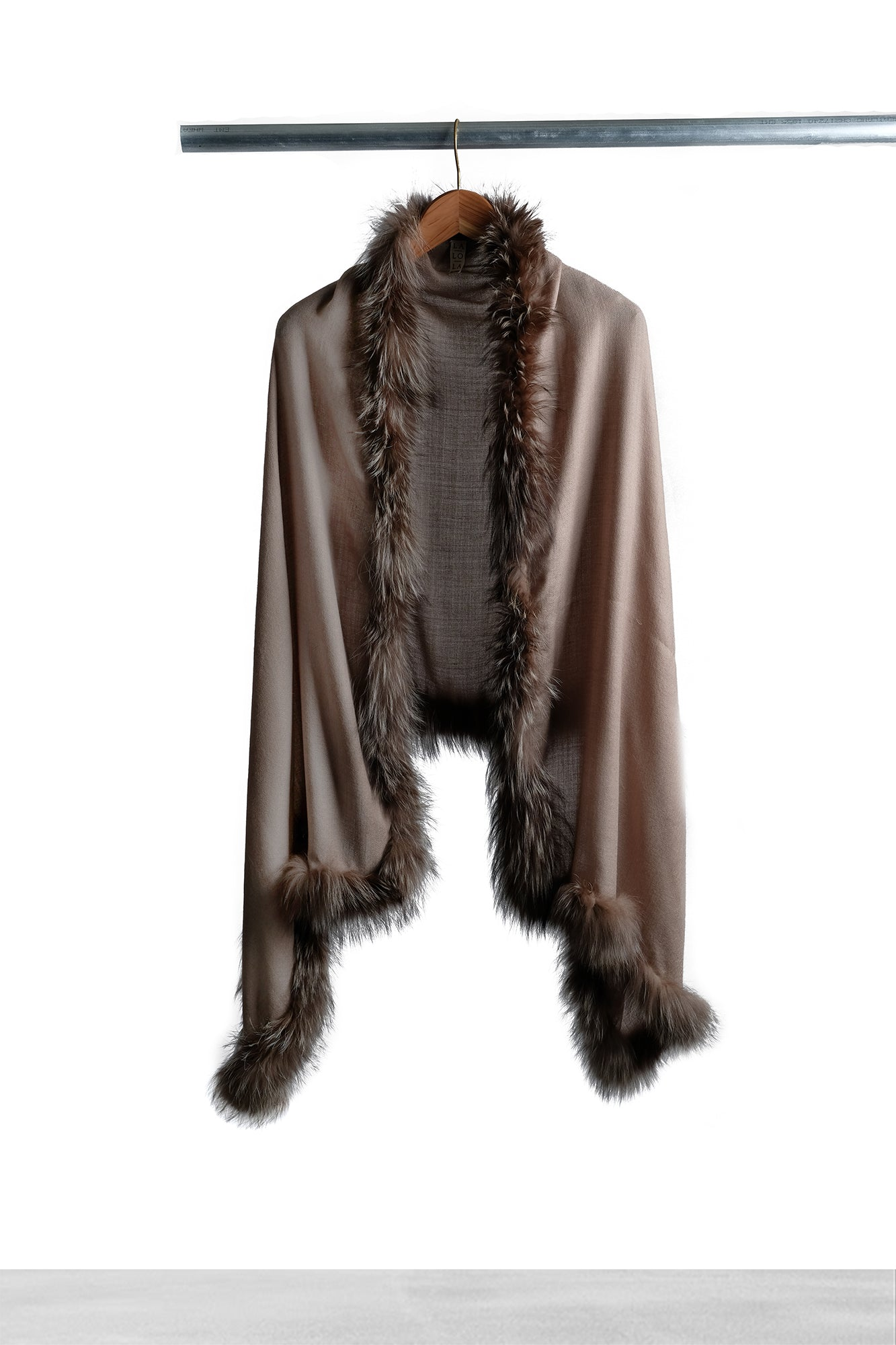 Taupe Fur Shawl - La Lo La Clothing