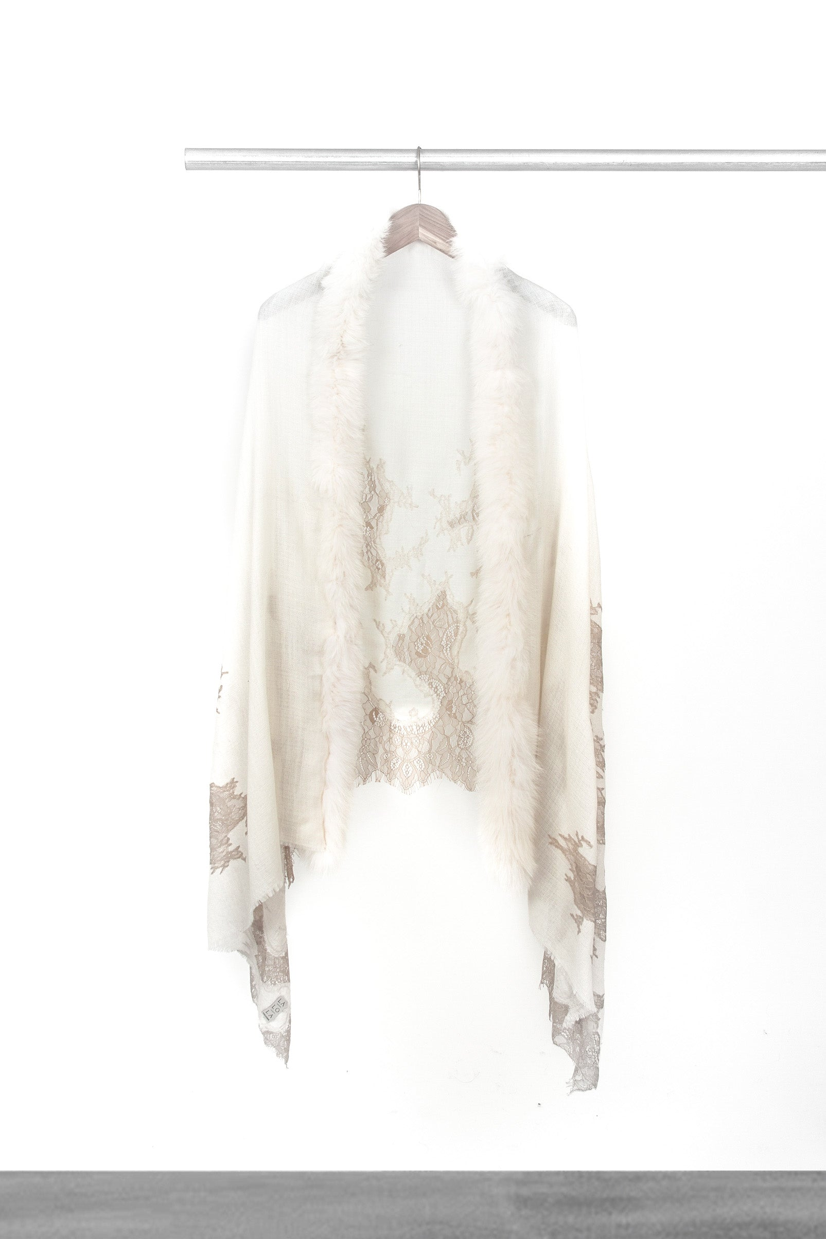 Winter White Lace and Fur Shawl
