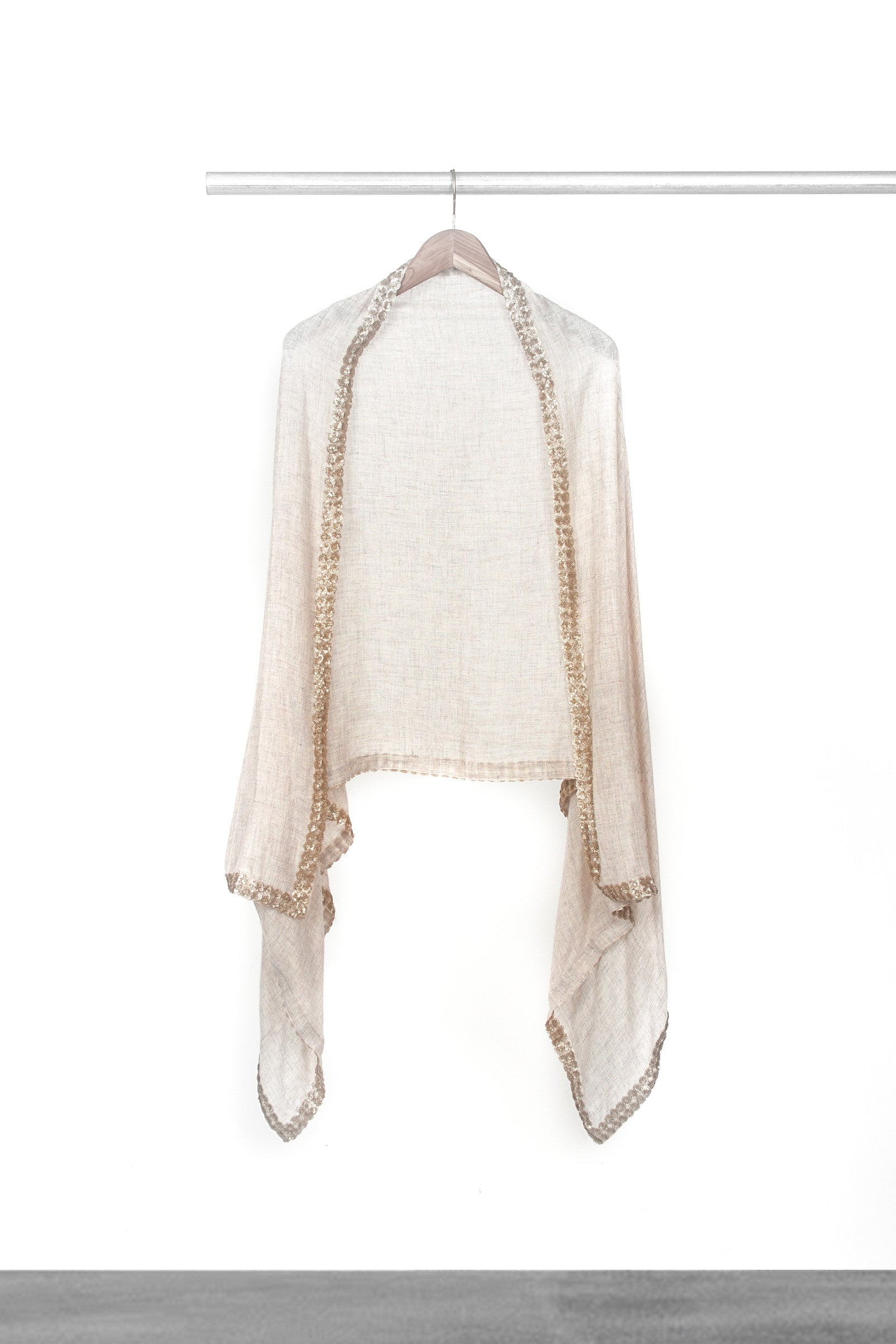 Woven Beige Shawl with trim