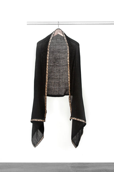 Woven Black Shawl with trim