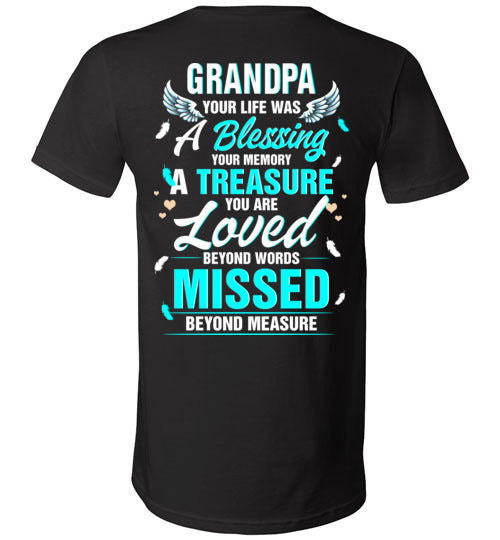 Grandpa - Your Life Was A Blessing V-Neck