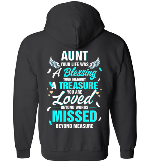 Aunt - Your Life Was A Blessing FULL ZIP Hoodie