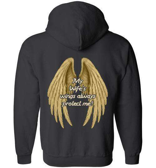 My Wife's Wings Always Protect Me FULL ZIP Hoodie