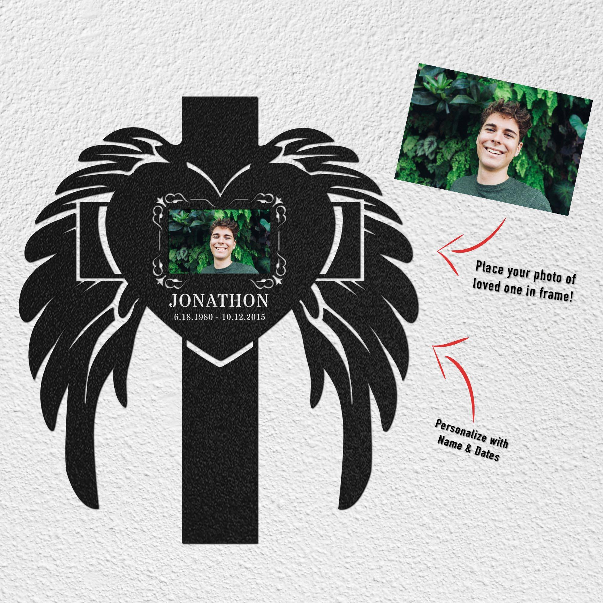 PERSONALIZED Cross Angel Wings Photo Cut-Out Metal Wall Piece